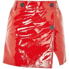 Heaton Patent Leather Mini Skirt by Unique ($330) ❤ liked on Polyvore featuring skirts, mini skirts, red patent leather skirt, wrap mini skirt, red mini skirt, patent skirt and red skirts