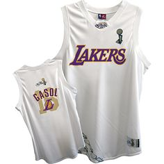 NBA Los Angeles Lakers Pau Gasol White 2009 NBA Finals Youth Jersey  US$20