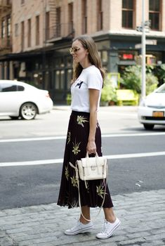 white tshirt pleated midi skirt sneakers outfit