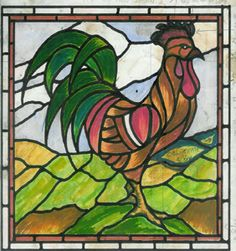 My husband crafted a stained glass   rooster similar to this for us about   30 years back. He is very talented with   this type of work.