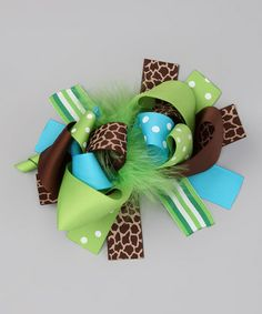 8ab2a087f12 Love this Lime   Blue Giraffe Bow Clip by Diva Daze on