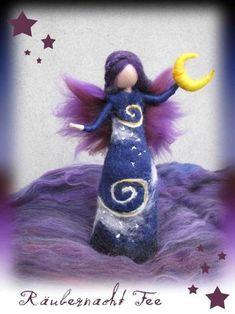 Your place to buy and sell all things handmade Felt Angel, Moon Fairy, Needle Felting Tutorials, Felt Fairy, Felt Decorations, Fairy Dolls, Wet Felting, Felt Dolls, Felt Ornaments