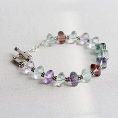 Fluorite and Bali Sterling Silver Beaded Bracelet by TheGoosle