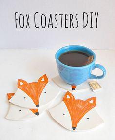 DIY Clay Fox Coasters by Running With A Glue Gun