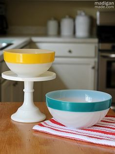 How to recreate vintage pyrex mixing bowls with stripes around the rim