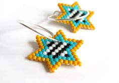 Earrings  MMM3 Bright Stripes Classic Stars  Light by AmaltheaCph, kr360.00