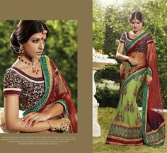 Beautiful Designer saree crafted with sophistication for Bridal, Wedding and Party occasion. Gorgeous Designs with sober colors and work will enhance your beauty. This is Olive Green Net and Georgette Lehenga Saree with Blouse. Its has Embroidary is blend of Zari, resham thread with hand work of pearl and swarovski and stones.