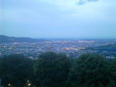 "View over Linz from viewing platform on ""Pöstlingberg"" Platform, River, Night, Outdoor, Linz, City, Outdoors, Heel, Outdoor Games"