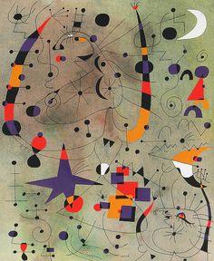 lupitovi:    Joan Miró -   Danseuses Acrobates       Parlez-moi de ces femmes dont la double huppe de coq de roche déploie a volonté l'arc semi-circulaire qui relie leurs narines à leurs talons, leur nuque à leur pubis et qui dans un bruit sourd toujours déchirant choisissent de s'abîmer en étoile à même la terre. L'écuyère dérive sur son patin de soie, c'est la plume au vent et son cheval n'a laissé qu'un fer étincelant dans le ciel. Corsetée de mousse, en maillot de lumière, l'exquise…