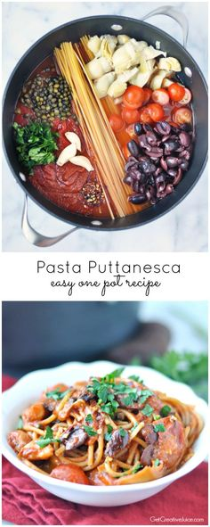 Easy One Pot Pasta Puttanesca - spicy, flavorful, under 30 min, easy recipe your family will love! We make this at least once a month and everyone loves it!