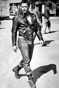 Marlon Brando on set of 'The Wild One', photographed by Phil Stern.
