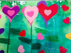 HeartGardens - instructions on how   preschoolers can make a beautiful garden of   hearts using bleeding tissue paper