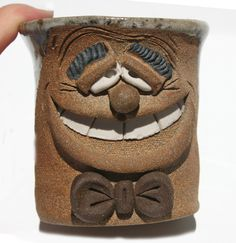 Quirky Unique Funny Two Face Mug with a little face in the bottom of the cup - Fired Glazed Terracotta Signed