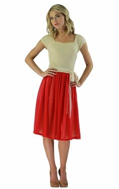"""Cream lace and poppy-red chiffon! I think I just found my Valentine's Day dress!  """"Julia"""" Modest Dress in Poppy Red"""