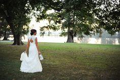 Beautiful bridal portrait, outdoors near pond. Marslgate Plantation.  Photo by Eli Murray