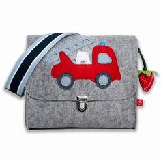 Kindergartentaschen - Kindergartentasche Filz Feuerwehr - ein Designerstück von LaFraiseRouge bei DaWanda