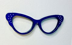 A 24 inch butterfly cateye sign to hang in your window. #glasses #cateye #blue #design #art Www.Backyardspectacles.com