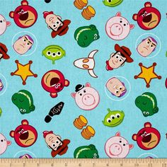 Toy Story Disney Emojiland Woody Buzz Lightyear Rex Hamm Alien Cowboy Cotton Fabric by Springs Creative per fat quarter per metre FQ Toy Story Fabric, Toy Story Baby, Baby Carrier Cover, Cumple Toy Story, Custom Canopy, Sewing Projects, Craft Projects, Woody And Buzz, Disney Fabric