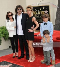 Musician Jeff Lynne and family at the Jeff Lynne Star ceremony on the Hollywood walk of fame on April 23, 2015 in Hollywood, California.