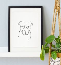Pitbull pet portrait hand drawn original wall art, minimalist line art, Gift for dog lovers, dog drawing Black Paper Drawing, Line Drawing, Dog Drawings, Animal Drawings, Watercolor Drawing, Watercolor Print, Dog Lover Gifts, Dog Lovers, Abstract Portrait