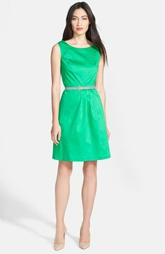 Ellen Tracy Sleeveless Origami Pleat Stretch Cotton Fit & Flare Dress available at #Nordstrom