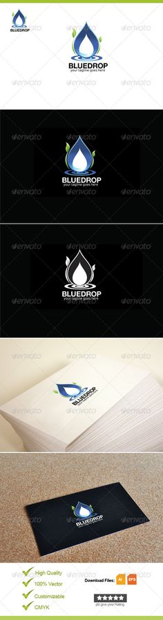 File Description Waterdrop illustrator logo template suitable for water, drop, blue, drinking, mineral, nature, green, leaf, event