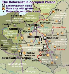 After Germany invades Poland, Poland holds a great deal of concentration camps. This map shows the locations of extermination camps, ghettos, and major concentration camps in Poland, aside from the many smaller camps that may have also existed. Majdanek Concentration Camp, Poland Map, Poland Travel, Jewish Ghetto, Warsaw Ghetto, World History, Lithuania, Memories, History