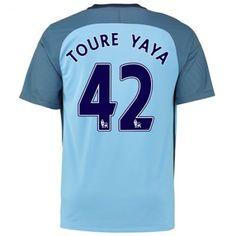 Manchester City 16-17 Yaya #Toure 42 Hjemmebanesæt Kort ærmer,208,58KR,shirtshopservice@gmail.com