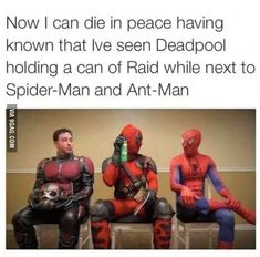Deadpool holding a can of Raid while next to Spider-Man and Ant-Man 〖 Marvel Ant Man Deadpool Spiderman Raid bug spray funny 〗 Funny Marvel Memes, Marvel Jokes, Avengers Memes, The Avengers, Deadpool Funny, Deadpool Quotes, Funny Comics, Memes Humor, Dc Memes
