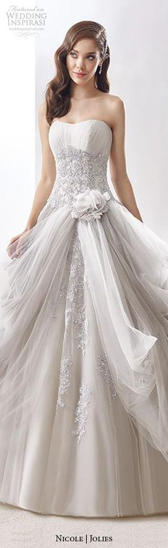 nicole jolies 2016 wedding dresses strapless sweetheart neckline beautiful grey ball gown wedding dress joab16405 #ballgown #weddingballgown