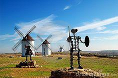 Spain, windmills and Don Quixote statue in Mota del Cuervo