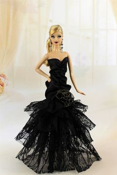 Gorgeous Black Evening Party Dress/Clothes for Barbie Doll Model Muse Y05