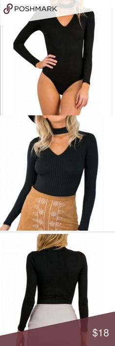 Black cutout V neck Bodysuit BOTTOMS ARE NOT INCLUDED 95% polyester 5% spandex. Available in a small medium and large. Comment below if you have any questions :) Other