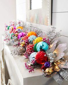 Holiday Bright Prelit Garland at Neiman Marcus Bohemian Christmas, Christmas Love, Winter Christmas, Christmas Wreaths, Christmas Crafts, Whimsical Christmas, Colorful Christmas Tree, Christmas Fireplace, Christmas Mantels
