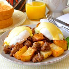 Yummy In My Tumbly | Italian Sausage Hash Eggs Benedict with Parmesan...