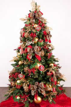 Best 7 Chic Christmas Tree Decorations on a Budget : Beautiful Christmas Tree Decoration on Budget with Gold Painted Christmas Bulbs and Gre...