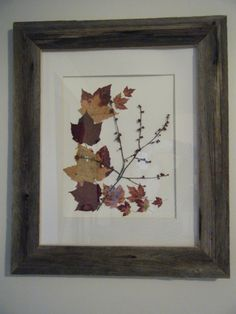 barn board frame paul and I made and picture made with fall leaves I collected 2011.