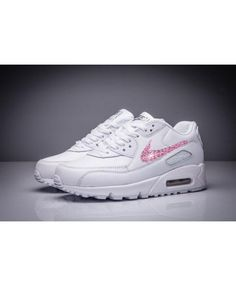 cheap for discount 24434 afff9 Nike Air Max 90 Leather Swarovski Pink Crystal Rhinestones Trainers Sale UK