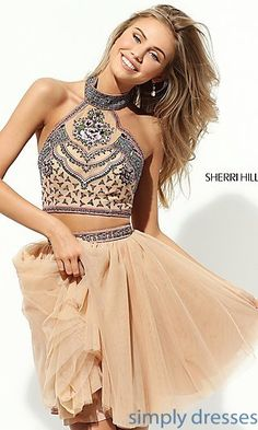 Short Sherri Hill Halter Two-Piece Party Dress
