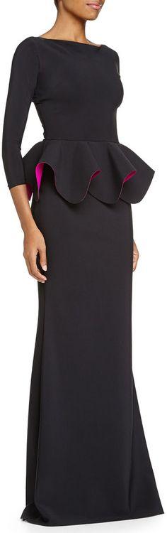 La Petite Robe di Chiara Boni Bateau-Neck Ponte Peplum Gown, Black