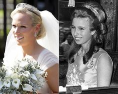 "Zara Phillips (Left) and Princess Anne (Right) wearing the ""Princess Andrew of Greece's Meander Tiara"""