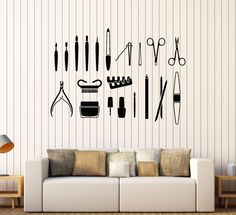 Vinyl Wall Decal Beauty Salon Tools Nail Manicure Stylist Stickers (435ig)