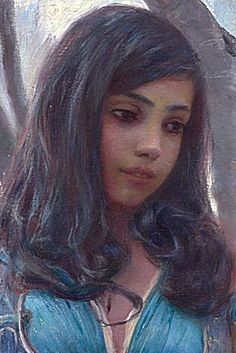 """Ferdinand Max Bredt, """"In a Courtyard, Tunis"""", detail.  She has such a sweet face."""