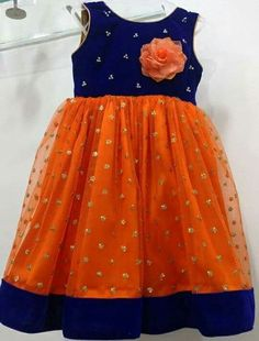 Kids frock in orange Kids Party Wear Dresses, Kids Dress Wear, Kids Gown, Dresses Kids Girl, Kids Outfits, Kids Wear, Girls Frock Design, Baby Dress Design, Baby Frocks Designs
