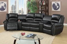 BOBKONA 5PC RECLINING HOME THEATER SECTIONAL SET IN BLACK COLOR
