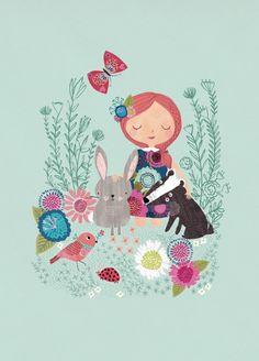 Rebecca Jones 'A4 Poster Woodland Girl'
