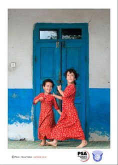 Sisters...  Red and Blue, Golestan Province, Agh-Ghalla, Dogonchi Village, Iran