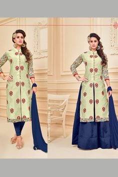 Stylish Wedding Wear Cream Blue Indo Western Style Suits Catalouge With Embroidary Work Antra Vol 15 Catalog 1001