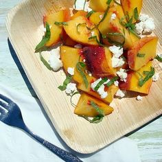 peach and basil salad with goat cheese
