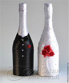 """Купить Шампанское свадебное """"Голливуд"""" - украшение шампанского, украшения шампанского, украшение для шампанского, украшения для шампанского"""